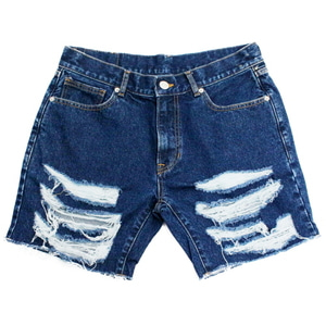 아임낫어휴먼비잉Basic Logo Destroyed Denim Shorts-Blue