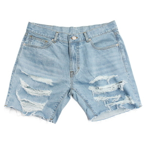 아임낫어휴먼비잉Basic Logo Destroyed Denim Shorts-Sky Blue